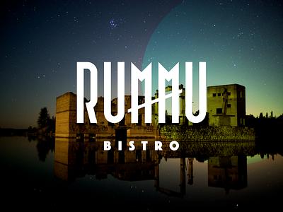 Rummu Bistro logo typography branding flat design logotype