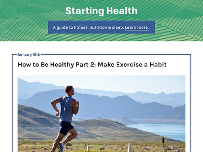Starting Health Homepage front-end homepage sleep nutrition fitness health ux ui website