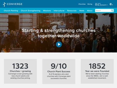 Converge.org new brand church website ui theme drupal homepage front-end converge redesign