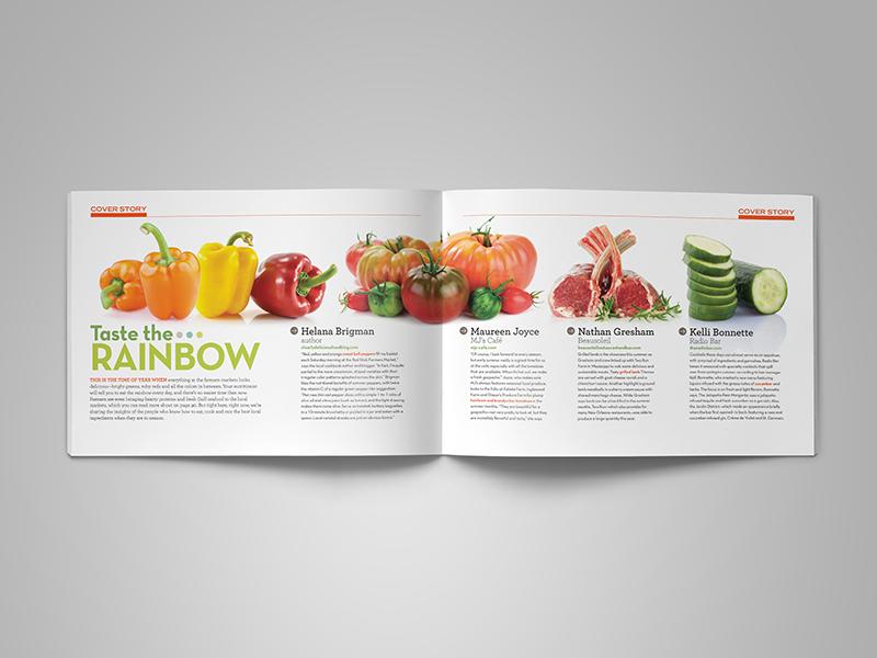 spread from 225 magazine fresh tomato pepper vegetable culinary chef baton rouge print magazine editorial design