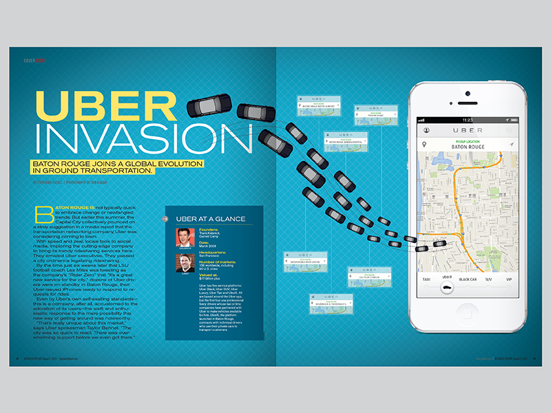 Baton Rouge Business Report: Uber Invasion baton rouge transportation uber print magazine editorial design