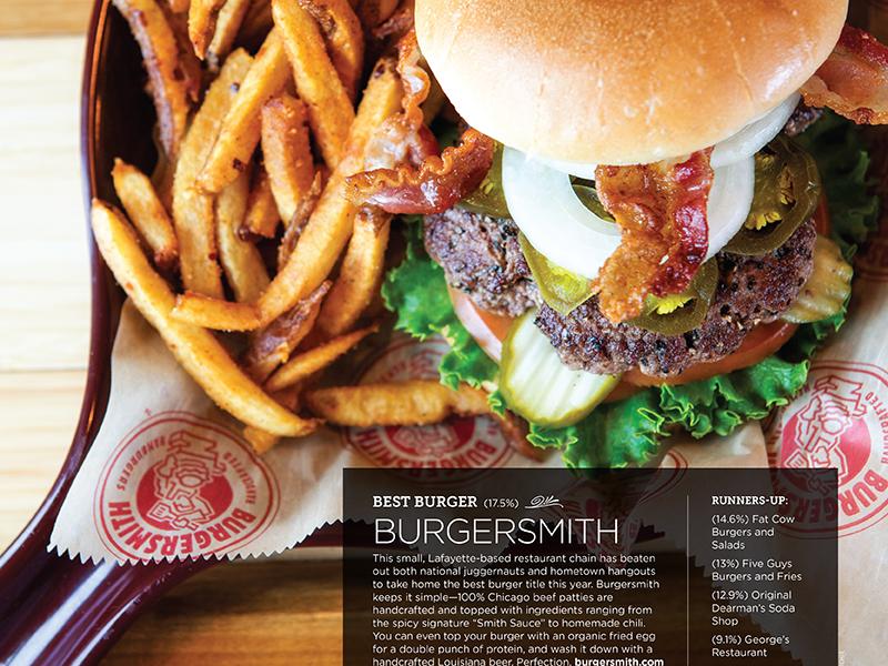 225 magazine: Best of 225 issue delicious food burger awards baton rouge print magazine editorial design