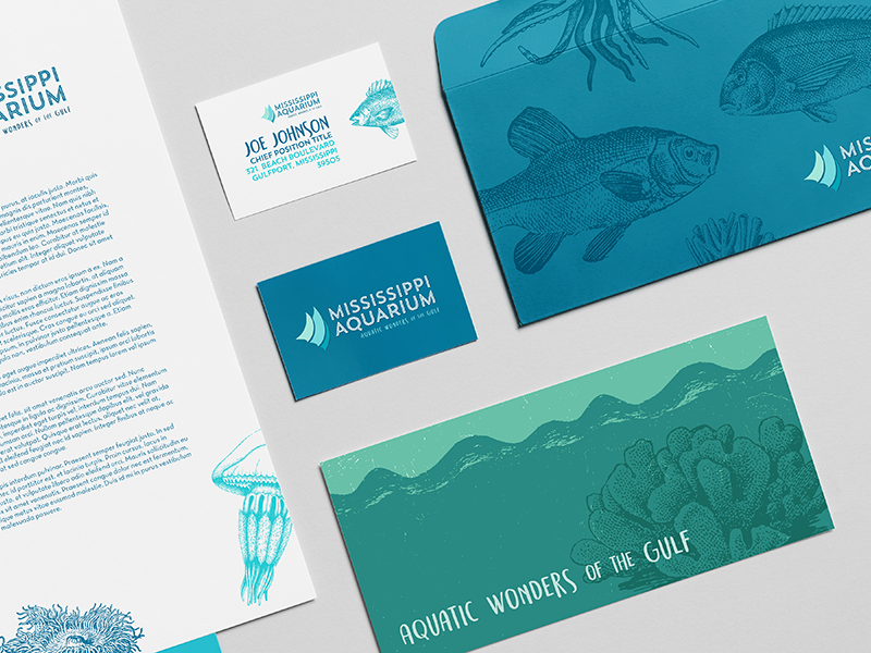 Mississippi Aquarium fish sea texture print logo collateral branding aquatic aquarium
