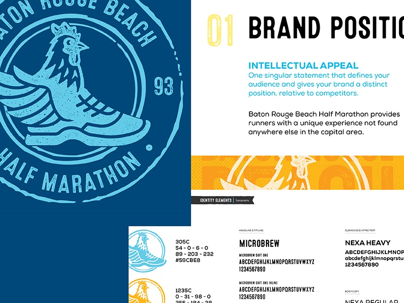 Baton Rouge Beach Half Marathon rebrand winged foot shoe runner stamp chicken race running marathon baton rouge texture screenprinting logo branding brand print