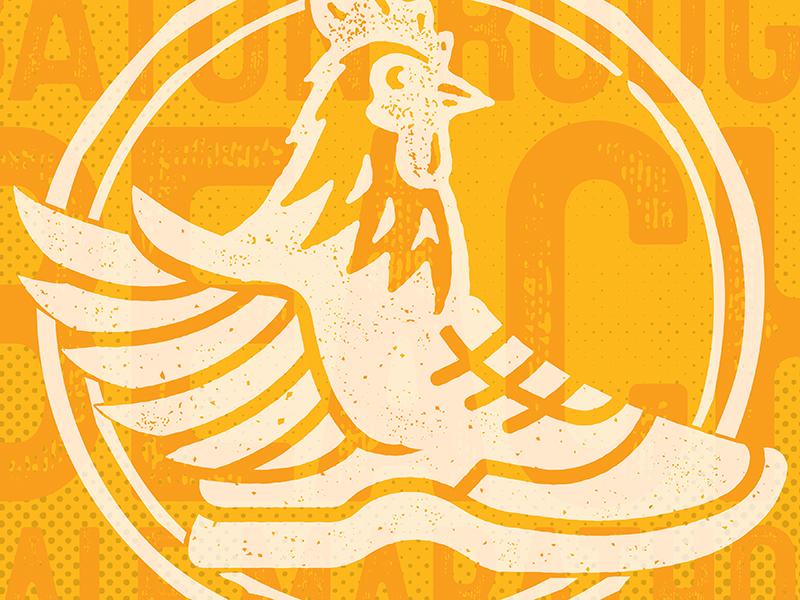 Baton Rouge Beach Half Marathon rebrand winged foot wing shoe marathon race running runner chicken screenprinting texture baton rouge branding brand logo print