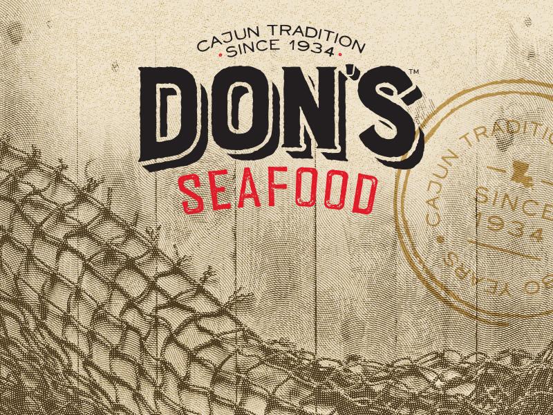 Don's Seafood rebrand stamp rustic texture cajun seafood louisiana print branding brand logo