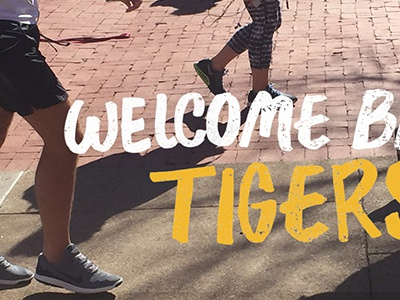 Welcome Back Tiger  distressed students handwritten