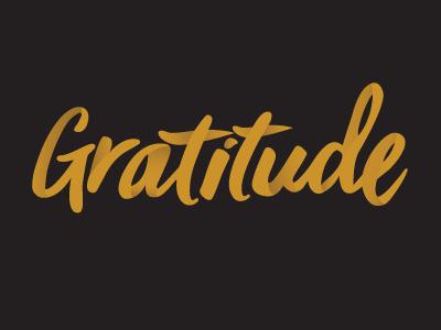 Gratitude  gold black gradient ribbon