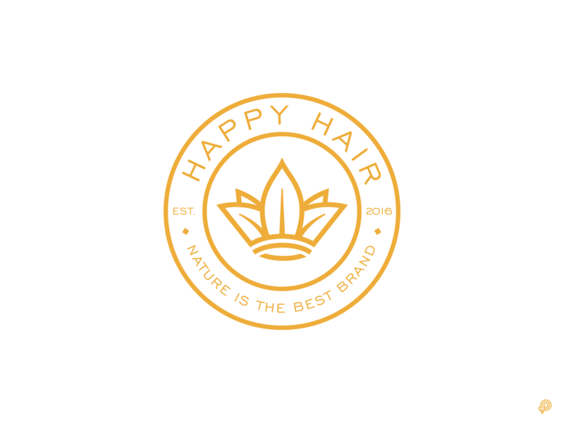 Happy Hair nature leaf crown icons lines vector branding design logo illustration