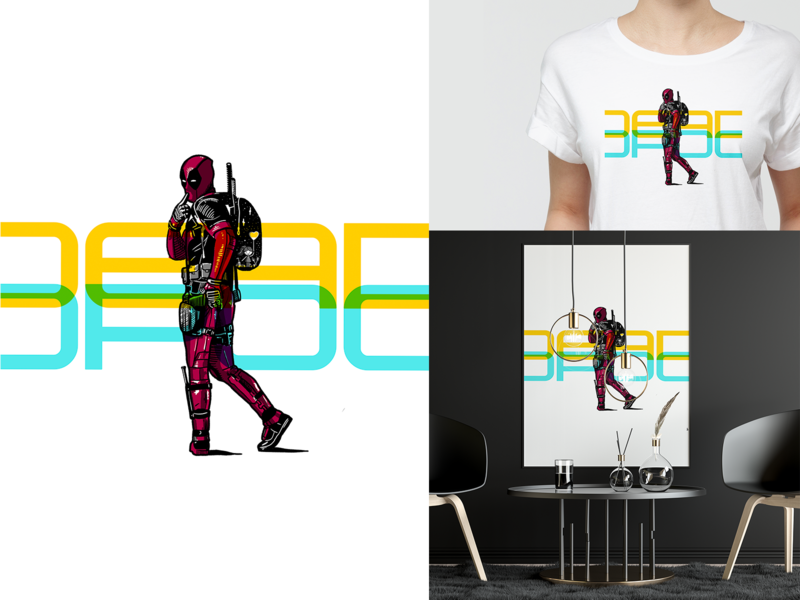 Deadpool mockup art deadpool design 2d monochrome illustration