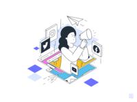 Influencer linen art girl icons design 2d monochrome icon lineart illustration