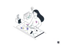 Brand guidelines branding logo art girl design monochrome icon lineart illustration