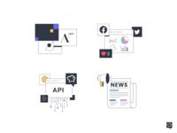 Icons socialmedia analytics news api guidelines branding linen icons line design 2d lines icon illustration