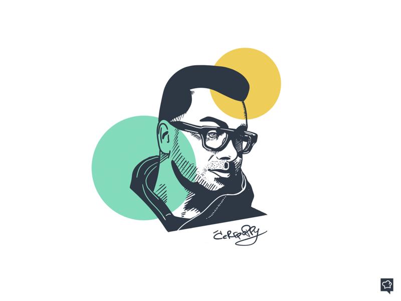 Cerrpoppy portrait line branding art boy design monochrome lineart illustration