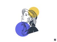 Lenkita branding handdraw art girl lines design monochrome icon lineart illustration