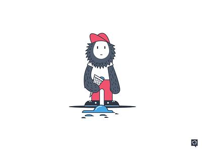 Fatal Error monster icecream error emptystate branding design monochrome icon lineart illustration