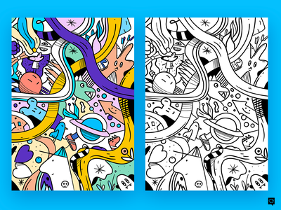 Coloring-book page doodle cartoon coloringbook handdraw branding linen art icons monochrome icon lineart illustration