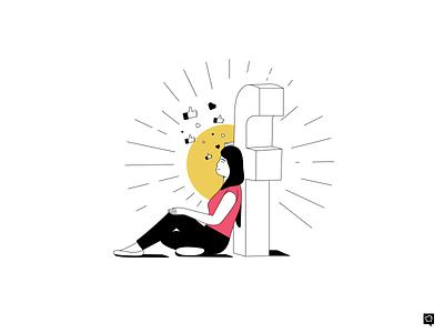 Facebook ads Master master illustrator figma vector dreamy heart like facebook socialmedia branding linen girl art icons design lines monochrome icon lineart illustration