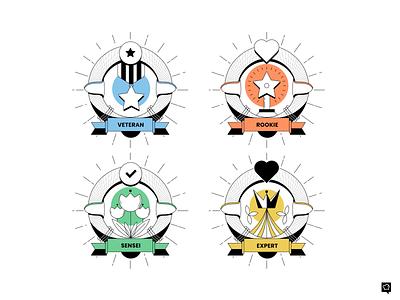 Badges sensei expert veteran rookie badges vector branding art design lines monochrome icon lineart illustration