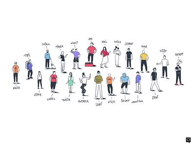 Design Team designers team branding girl boy art line design lines monochrome icon lineart illustration