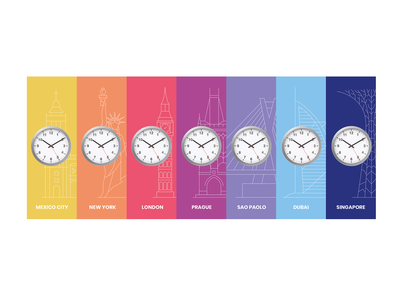 Clock timezone dubai saopaolo prague newyork mexico clock icons vector branding linen design lines monochrome icon lineart illustration