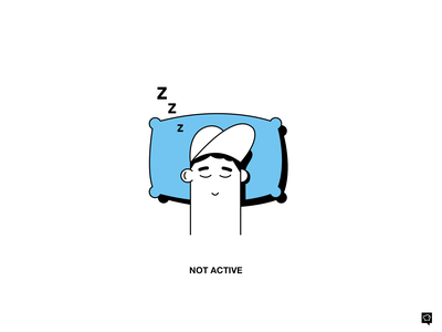 NOT acvtive sleeping notactive emptystate vector branding boy design lines monochrome icon lineart illustration