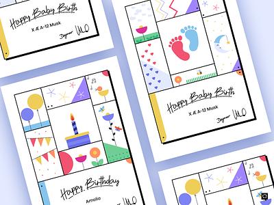 Cards design visualdesign birthdaycard birthday babybirth branding art monochrome icon illustration