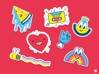 Stickers funky vector icon lineart art branding icons design illustration stickers