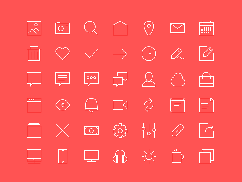 Freebie 2px lines 48x48px Icons bag money bell pencil clock bin calendar pin image home lines icons