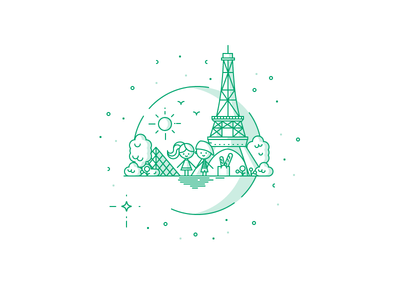 Paris stars birds sun lines icon trees tower eiffel paris illustration