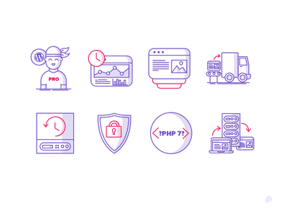 128x128px Icons shield server website truck user pro time php illustration icon