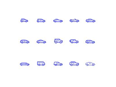 Cars van combi coupe hatchback sedan suv car illustration icon