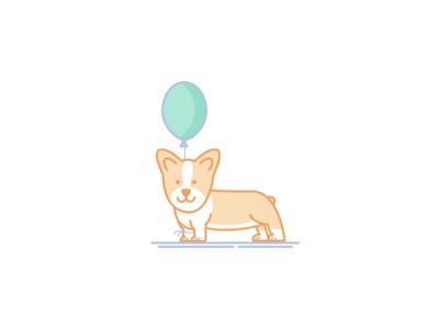 Dog corgi baloon dog illustration