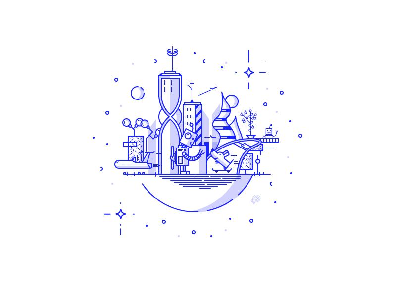 Robot City future dog robot lineart illustration