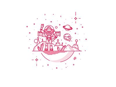 Ferdinand's friend icon space planet dog lightyear buzz lineart illustration