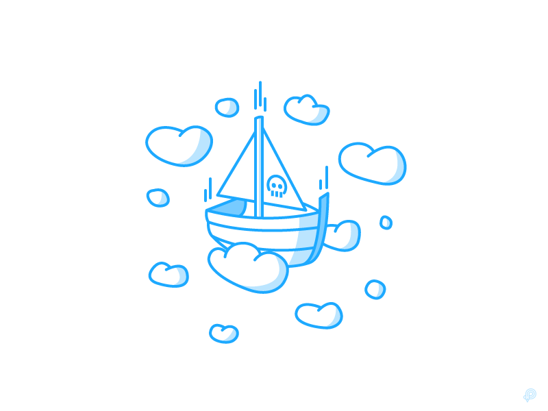 Boat clouds pirate boat monochrome lineart illutration