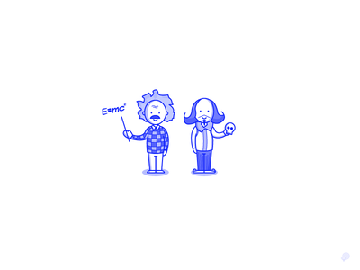 Characters shakespeare einstein characters lines icon monochrome lineart illustration