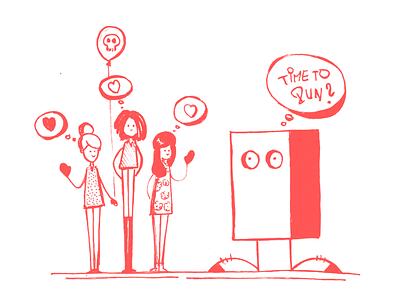 Mr. BOX - Question run hearth girls fun sketch illustration