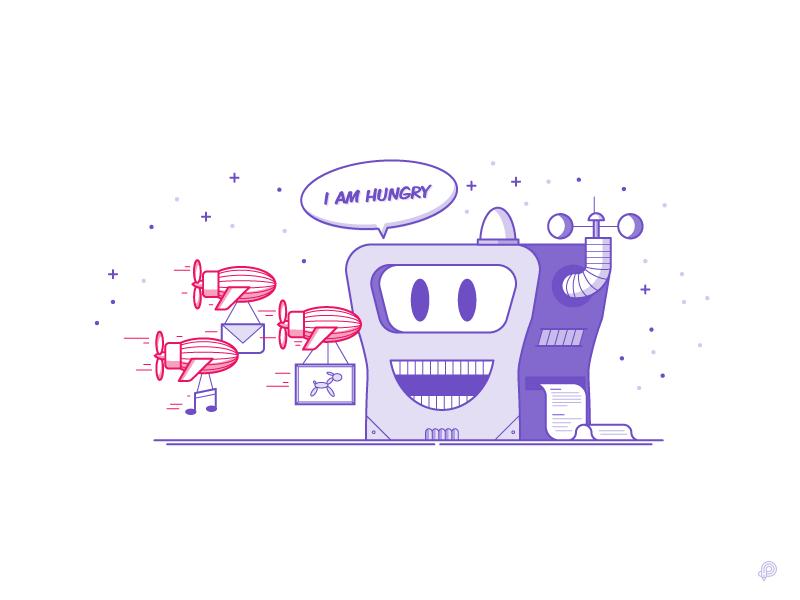 Data hungry machine fun cartoon image airship machine icon lines lineart illustration