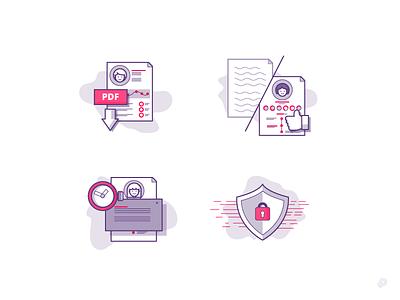 Icons download secure cv pdf icon line lines illustration