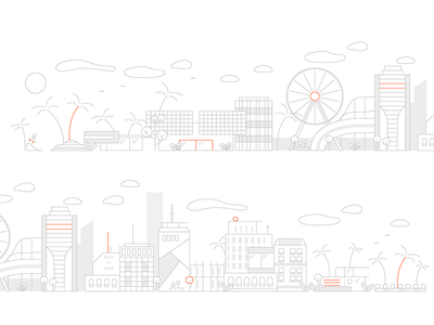 City city icon linen lines illustration