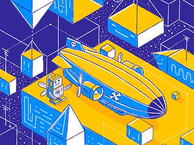 Pirat Airship pirat icon airship lineart illustration