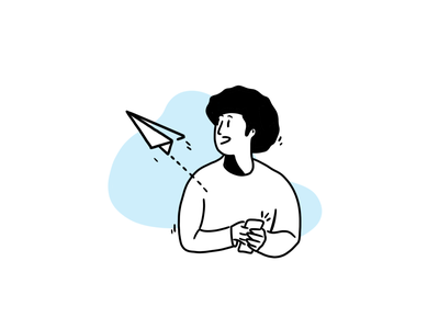 Paper plane logo handdraw boy design icons 2d line lines monochrome icon lineart illustration