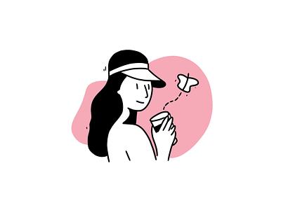 Butterfly logo handdraw linen art girl design icons 2d line lines monochrome icon lineart illustration