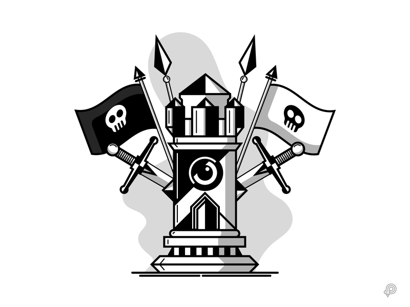 Chess Tower tower chess pirate vector design icons 2d line lines monochrome icon lineart illustration