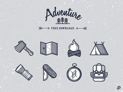 Free Download - Adventure Icons compass flashlight axe tent fire bag freedownload freebie freeicons adventure ui design icons 2d line lines monochrome icon lineart illustration