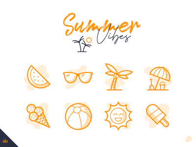 FREE Summer vector icon baloon melon sunglasses palm sun freebie freeicons summer vector design icons 2d line lines monochrome icon lineart illustration