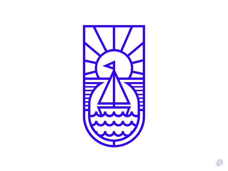 Sailor - Sun light sun sailor boat can vector design icons 2d line lines monochrome icon lineart illustration