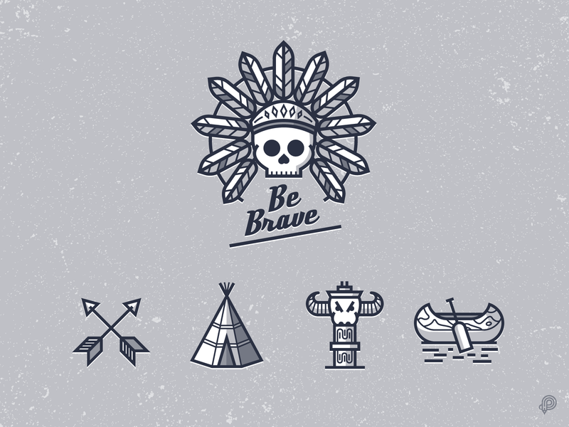 Brave icons skull totem arrow tent teepee canoe design icons 2d line lines monochrome icon lineart illustration