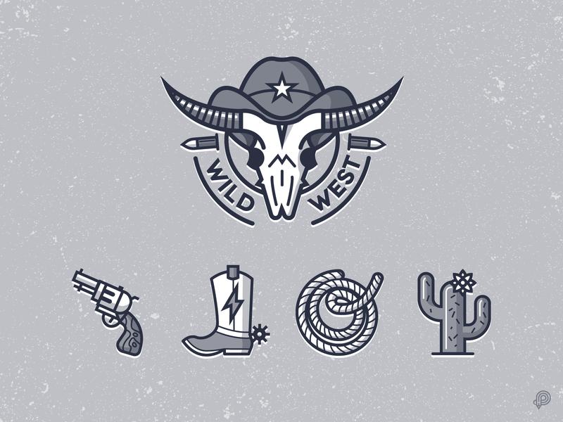 Cowboy icons lasso gun cactus cowboy boots skull logodesign logo icondesign cowboy design icons 2d line lines monochrome icon lineart illustration